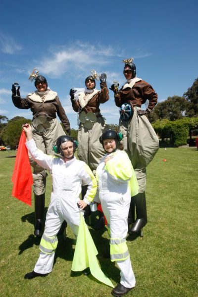 Celebrating our famous woman of flight we present the three Aviators and their loopy ground crew. Stiltwalking rovers with a good dose of comedy.