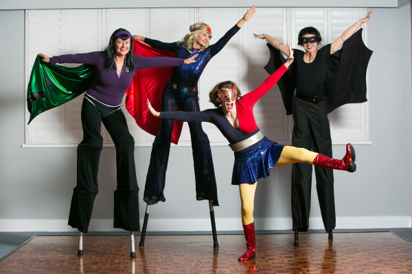 Here they come to save the day, our superheroes are on their way! Faster than a speeding bullet etc: Roving stiltwalkers and/or on-ground performers.