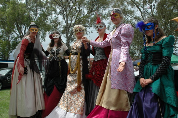 Go back in time to an era of finery with these medieval styled costumes. The roving stilt performers can be hired as a 3 minute court dance performance with 6-8 performers. Performed here at Viva la Gong festival. Costumes and choreography by Libby Bloxham.