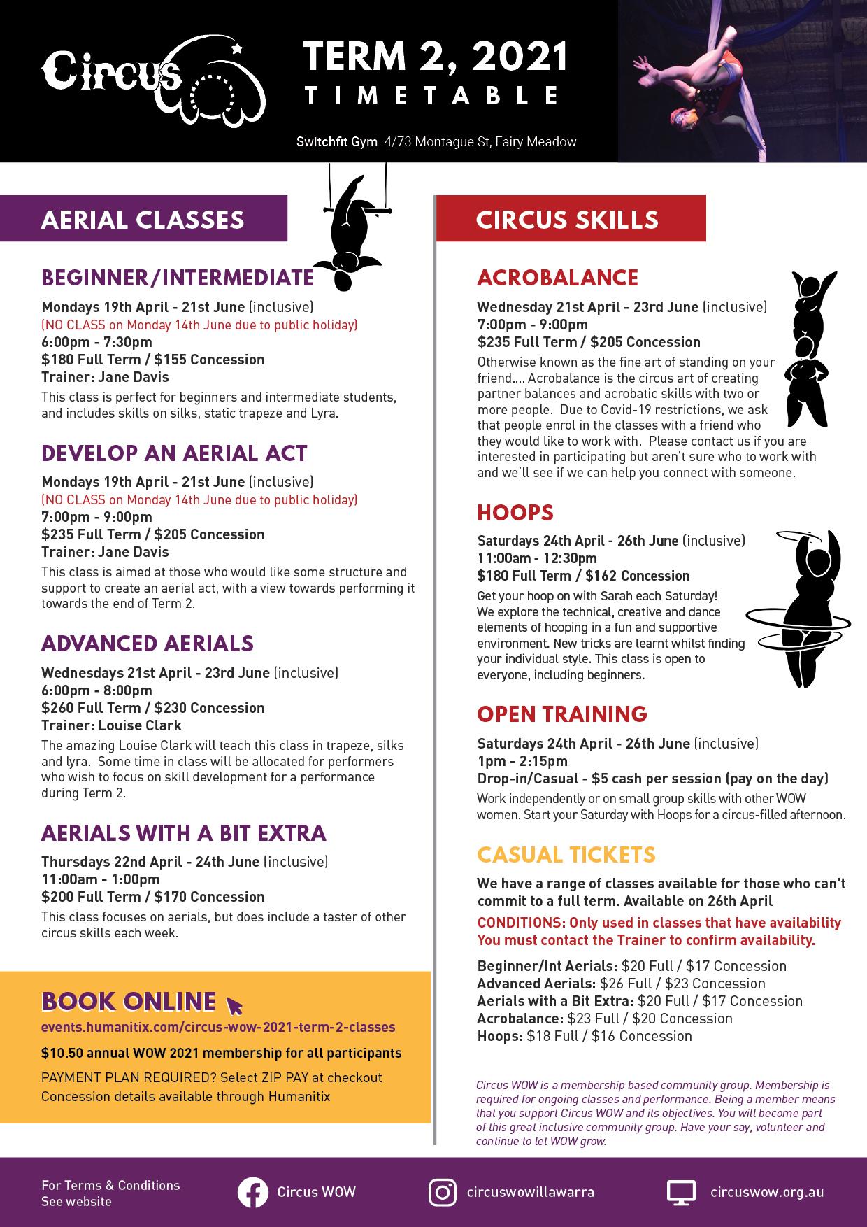 Circus WOW Timetable Term 2, 2021